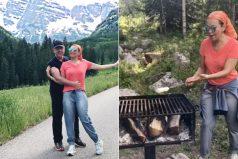 Mira a Thalía de camping, asando malvaviscos. Así fueron sus vacaciones entre montañas