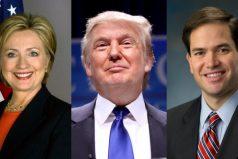 Hillary Clinton, Donald Trump y Marco Rubio tendrá hoy un día decisivo