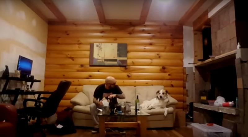Este adorable perro mira de reojo la comida de su amo, tratando de aguantarse las ganas de robarle un poco