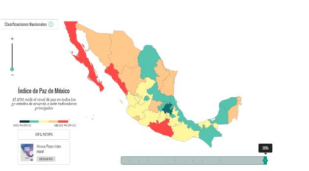 Los estados de México más y menos peligros según el índice de Paz 2016