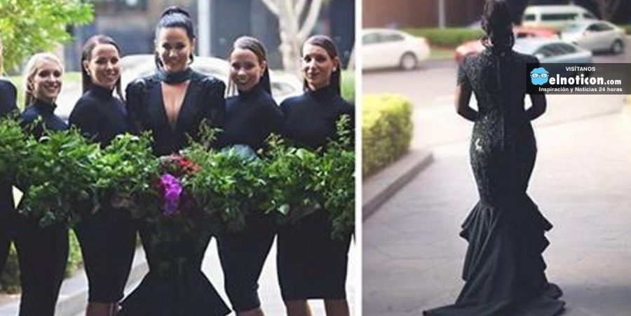 Esta novia vistió un elegante vestido negro para su boda