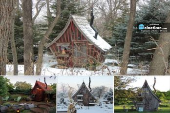 Pequeña cabaña rústica hecha con madera reciclada