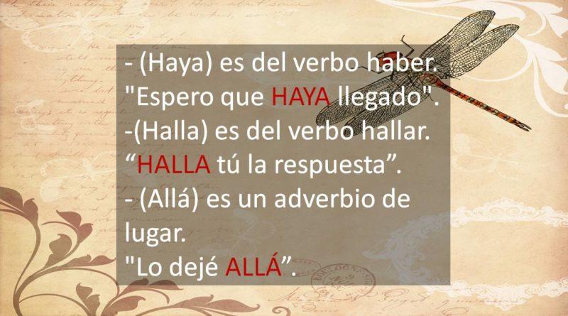 Diferencia entre Haya, Halla, Allá