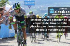Esteban Chaves ganador de la etapa 14 del Giro de Italia ¡Que felicidad, que viva Colombia!
