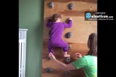 A baby learning how to climb