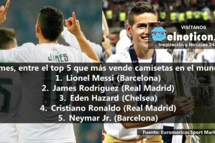 James, dentro del 'top 5' que más vende camisetas en el mundo
