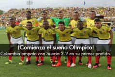 La selección Colombia de hombres inicia su participación en Río empatando 2-2 con Suecia