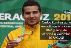 ¡GRACIAS POR ESTA ALEGRÍA! Carlos Ramírez gana medalla de bronce en BMX