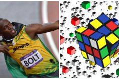 Este hombre arma un cubo Rubik antes que Usain Bolt termine los 100 metros ¡Que agilidad!