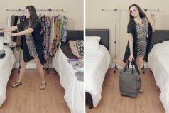 Esta chica Bond sabe cómo guardar más de 100 prendas de vestir en un equipaje de mano