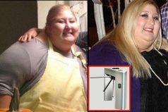 Mujer de 225 kilos adelgaza brutalmente tras quedar atascada en torniquete. Hoy pesa 68