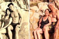 23 parejas recrearon las fotos de sus matrimonios y mostraron sus cambios después de 30 años