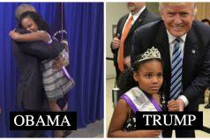 La gente está extasiada ante las diferentes reacciones de esta niña al conocer a Obama v/s Trump