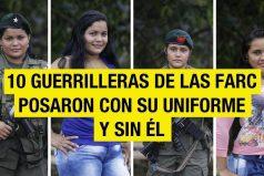 10 guerrilleras de las FARC posaron con su uniforme y sin él: así se verían si se aprueba la paz