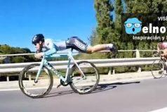 Este ciclista se cree 'Superman' y adelanta a todos sus rivales de esta manera ¡Asombroso!