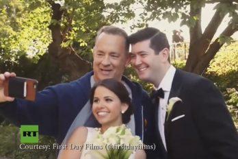 Tom Hanks sorprende a estos recién casados durante su sesión de fotos ¡Vaya sorpresa!