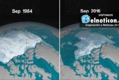 la NASA muestra cómo se está derritiendo el Océano Ártico desde 1984
