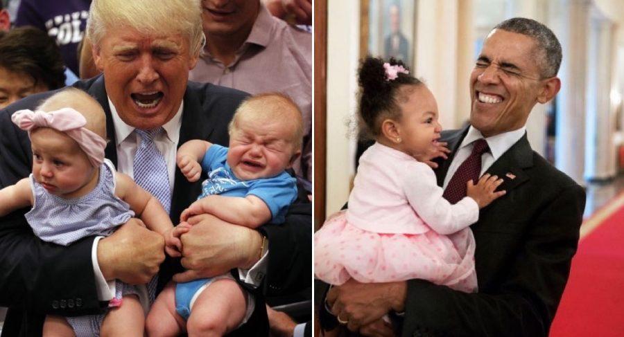 Fotografías de Obama y Trump con niños que demuestran lo diferentes que son