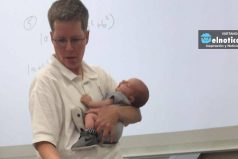 La imagen de la profesora que cuida del bebé de su alumna en clase se hace viral