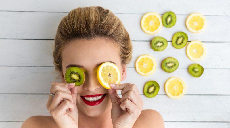 Frutas Kiwi Naranja Mujer Ojos