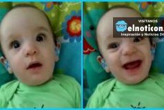 Así reaccionó este bebé al escuchar por primera vez la voz de su mamá gracias a unos aparatos auditivos