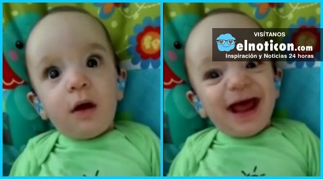 Así reaccionó este bebé al escuchar por primera vez la vos de su mamá gracias a unos aparatos auditivos
