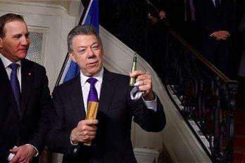 Santos dona valiosos objetos al Museo Nobel, ¡que lindo gesto!