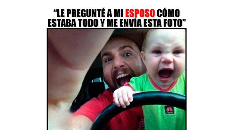 Papá con un bebé al volante