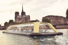 El gimnasio flotante de París que usa la energía humana para navegar