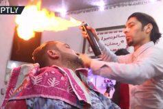 'Fire barbering', la técnica del estilista palestino Ramadan Edwan que sorprende al mundo. ¡Este corte está que arde!