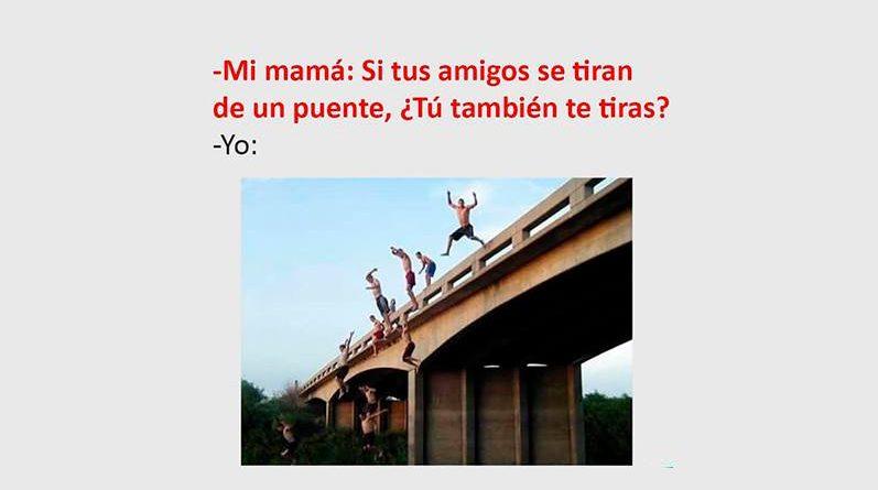 Jovenes tirándose de un puente