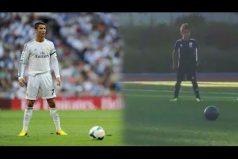 El hijo de Cristiano Ronaldo anotó un golazo imitando su manera de cobrar tiros libres. ¡Hasta se paró igualito!