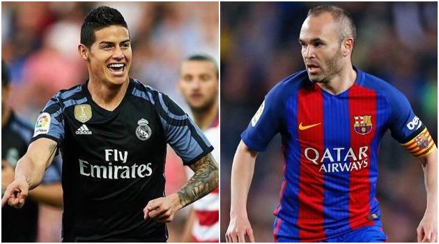 James Rodríguez mejor que Andrés Iniesta en esta temporada en España
