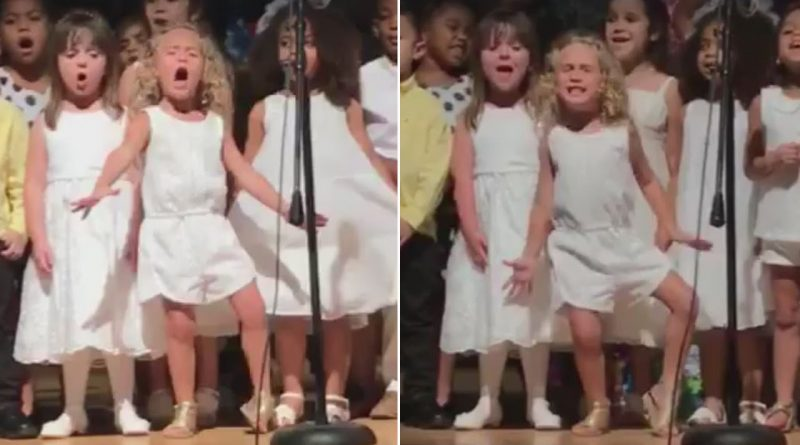 4-Year-Old-Girls-Spirited-Singing-Steals-Spotlight-at-Preschool-Graduation