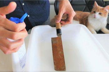 ¡Esto no puede ser cierto! Así 'rescató' este japonés un viejo cuchillo… ¡Y lo dejó con el filo de un sable!