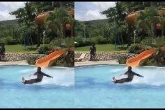 ¡El video viral del año! Increíble lo que hace este hombre al lanzarse por un tobogán. ¿Realidad o truco?