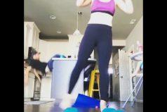 Quería estropear el video de su esposa haciendo gimnasia… ¡Y terminó siendo el protagonista… y el estropeado!