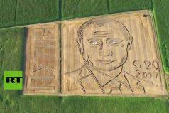 ¡Impresionante! El gigantesco retrato del presidente de Rusia hecho en un campo de trigo. ¿Cómo lo haría?
