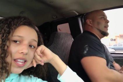 ¡Que talento! Esta niña grabo a su padre cantando en el coche y se hizo viral