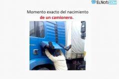 Momento exacto del nacimiento de un camionero