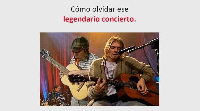 El chavo tocando guitarra con Kurt Cobain