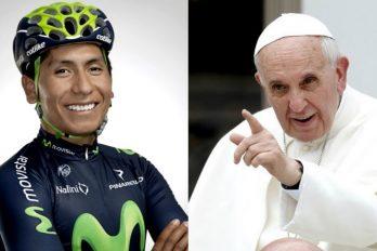 Nairo Quintana y su emotivo mensaje para el Papa Francisco ¡Otros 9 famosos hicieron lo mismo!
