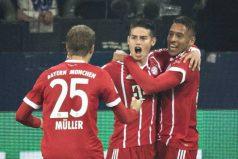 James celebra su primer gol con el Bayern. ¡Un gran partido para el colombiano!