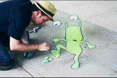 El arte con tiza que se creó para hacer feliz a los ciudadanos, ¡una historia hermosa!