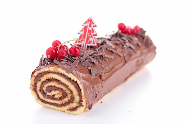 Rollito navideño de chocolate