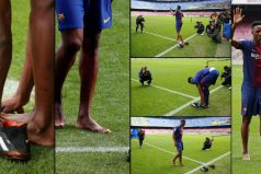 ¿Por qué Yerry Mina entró descalzo? Así ocurrió en el Camp Nou?