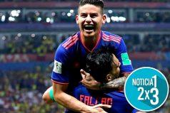 Con un largo abrazo, James felicita a Falcao por su primer gol en el Mundial