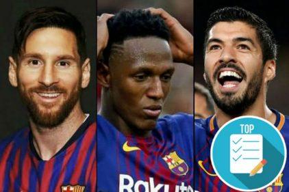 Yerry Mina en el FC Barcelona apostaba y perdía contra sus compañeros Lionel Messi y Luis Suárez