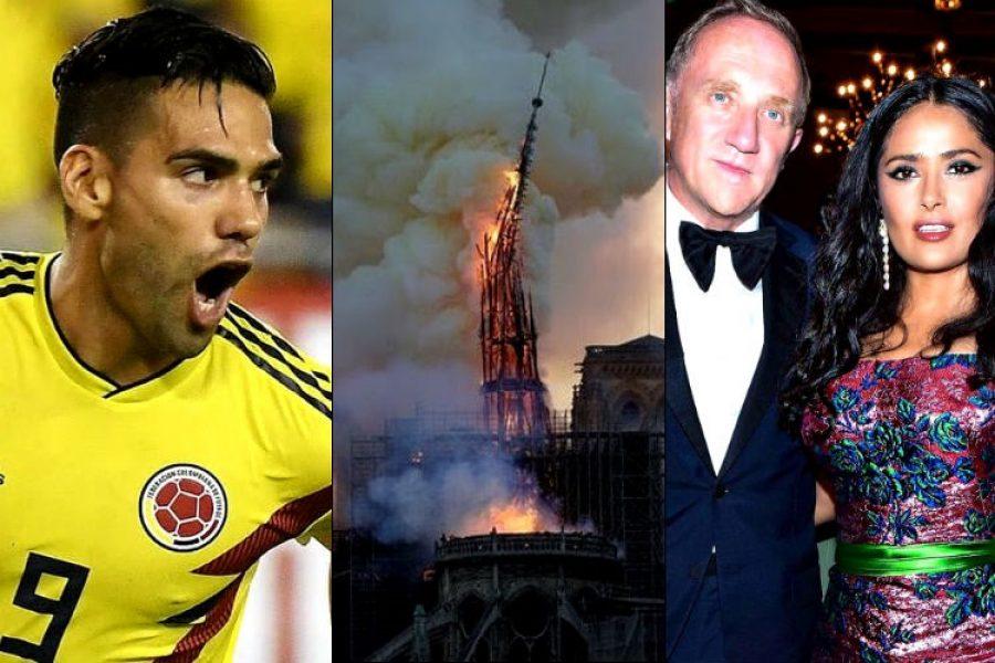 Falcao y el esposo de Salma Hayek, se hicieron sentir con el incendio de Notre Dame ¡Se fajaron!
