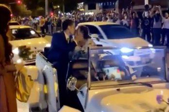 El beso de un matrimonio en medio de las protestas del paro nacional ¡El amor no se detiene!